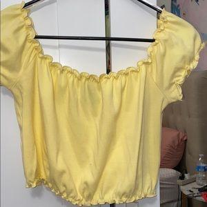 yellow off the shoulder crop top